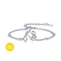925 Sterling Silver 12 Constellations Zodiac Pendant Crystal Bracelet (Aquarius)