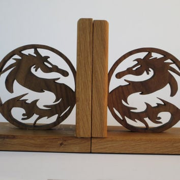 Dragon Bookends - scroll saw cut from Oak and Walnut