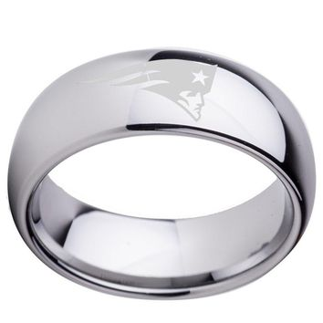 Dropshipping New England Patriots Tungsten Carbide Wedding Ring 8mm for Men Fashion Finger Jewelry Silver Dome Polish Finish