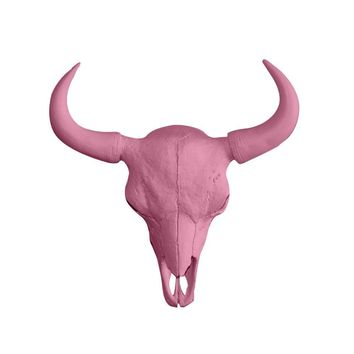 The Large Yellowstone Skull | Buffalo Bison Skull | Faux Taxidermy | Blossom Pink Horns Resin