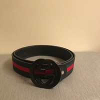 NWT Authentic Men's Gucci Black Trim Green and Red Stripe Belt 114984 H17AR