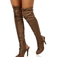 Sale-taupe Open Toe Lace Up Boots