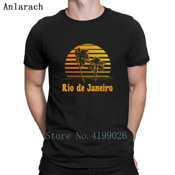 Rio De Janeiro Brazil Sunset Palms Trees T-Shirt Spring Gift Euro Size S-3xl T Shirt For Men Printing Trend Male