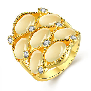 Gold Plated Pearl Covering Crown Ring