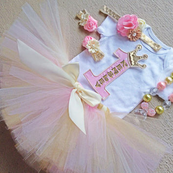 Light Pink, Gold and Ivory Outfit- Vintage Princess Tutu Birthday Outfit - Includes: Tutu, Necklace, Headband, Barefoot Sandals, Iron-On #1