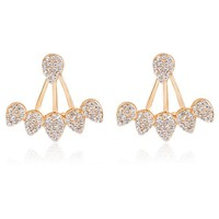 ES205 Crystal Flower Stud Earrings Fashion Ear Jacket Jewelry Punk Brincos For Women Front Back Double Side Earring