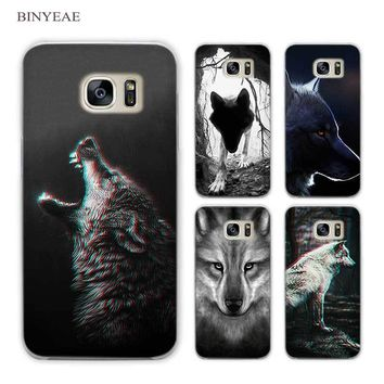 BINYEAE Classic Cool Wolf Hipster Clear Phone Case Cover for Samsung Galaxy S3 S4 S5 Mini S6 S7 S8 Edge Plus