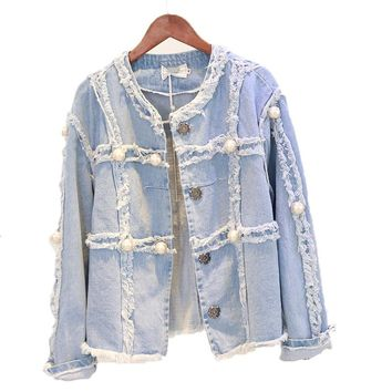 Beading Pearl Denim Jacket For Women Handmade Studded Jeans Jackets Women's Clothing Single Breasted Fashion Basic Jacket Coat