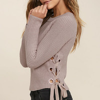Good-Natured Beige Lace-Up Sweater