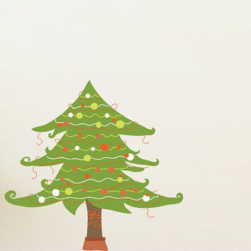 Christmas Tree with Ornaments Wall Decal - Vinyl Fabric - Vinyl Sticker - Chirstams Decoration -  CD70