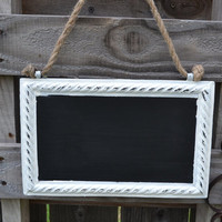 White Shabby Chic Metal Chalkboard -Darling addition to a vintage or beach themed room, wedding or party!