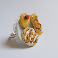 Scented or Unscented Danish Pastries Miniature Food Ring - Miniature Food Jewelry,Handmade Jewelry Ring