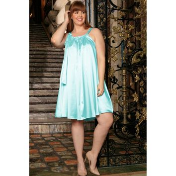 Light Blue Halter Swing Summer Cocktail Sexy Curvy Dress Plus Size