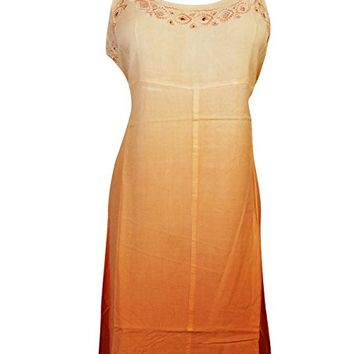 Mogul Womens Tank Dress Cut Out Neck Design Tie Back Bohemian Sexy Sundress