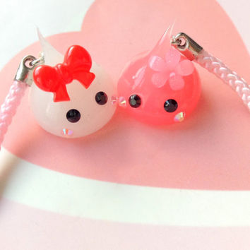 Red Hoppe Chan Phone Charm, Kawaii Dust Plug, Cute Cheeks Chan, Japan, Sweet Lolita, Kawaii Phone Strap Cute Creature, Nintendo 3DS, PS Vita