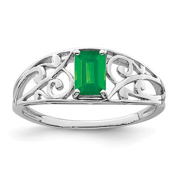 Sterling Silver Emerald Filigree Ring