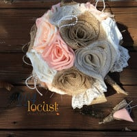 Peach Wedding Bouquet, Burlap Bouquet, Boutonniere, Peach and Burlap, Rustic Bouquet, Burlap, Wedding, Bride, Groom, Favor, Bridesmaid