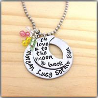 I Love You To The Moon And Back Hand Stamped Necklace Swarovski Crystal Birthstone Charms Jewelry Mothers Neckalce Washer Moon Stainless