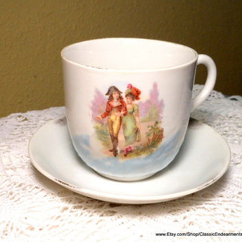 Vintage Teacup Germany Figural Coffee or Tea Cup and Saucer Shabby Chic Romantic Gift