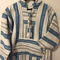 Mexican Threads Baja Drug Rug Hoodie Pullover Sweatshirt | Baja Jacket Poncho Blue White Grey | Boho Gypsy