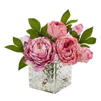 Artificial Flowers -Peony In Glass Vase Silk Flowers