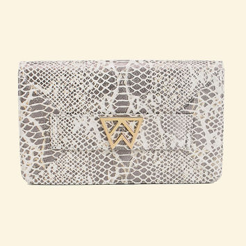 Forever Classy Clutch in Pearl Gray Embossed Mamba