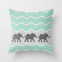 Three Elephants - Teal and White Chevron on Grey Throw Pillow by Tangerine-Tane