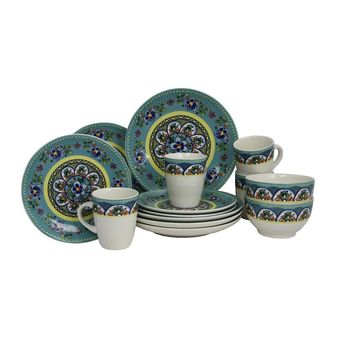 Elama Santa Fe Springs 16pc Stoneware Dinnerware Set