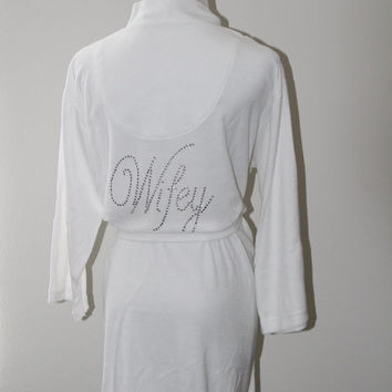 Wifey, Mrs,Just Married, Honeymoon White Terry Robe, Lounge wear for your Destination Wedding, Perfect Wedding Gift for Bride