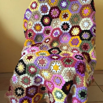 ON SALE - 10% OFF Granny Square Crochet Blanket...Baby Crib Blanket...Colorful Knitting Patchwork Lap Afghan...