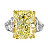 10.03ct Fancy Yellow Radiant Diamond Engagement Ring