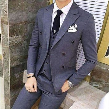 DCCKON3 tailor smoking grey men suit business slim fit groom 3 piece wedding suits tuxedo prom blazer masculino jacket pant vest