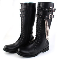 Fashion Black Leather Lace Up Punk Rock Men Boots Winter Boots Buckle Strap Cosplay Boots