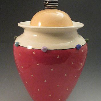 Goldfinch Lidded Urn by Lisa Scroggins: Ceramic Vessel - Artful Home