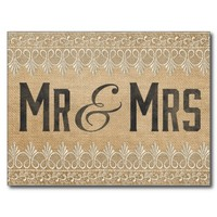 Vintage Burlap Mr & Mrs. Postcard from Zazzle.com