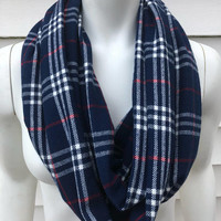Plaid Infinity Scarf-Women's Handmade Fall Flannel Scarf-Accessories Gifts For Her-Stocking Stuffer-Navy Blue Scarf-Winter Chunky Scarf