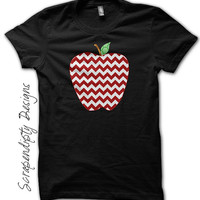 Chevron Apple Shirt - Teacher's Gift / Kindergarten Teacher Shirt / Apple Chevron Black Tshirt / Kids First Grade Outfit / Toddler Clothes