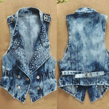 Faroonee Denim Vest Sleeveless Cardigan Washed Sequin Rivet Studs