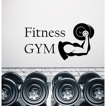 Vinyl Wall Decal Logo Fitness Gym Muscles Body Dumbbell Sticksers (3280ig)