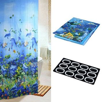 Blue Deep Sea Fish Pattern High Quality Shower Curtain Midlewproof with Hooks