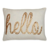 "Thro ""Hello"" Sequin Script Throw Pillow"
