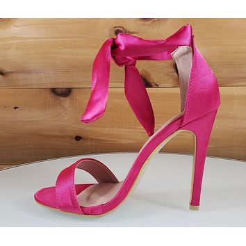 """Top Show Hot Pink Ankle Tie Strap 4 """" High Heel Sandal Shoes"""