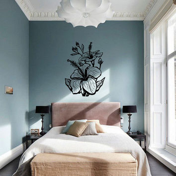 Hibiscus Plant Blossom Silhouette Vinyl Wall Decal Sticker Graphic