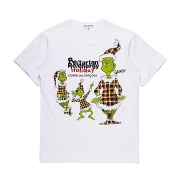 Mens CDG PLAY COMME DES GARCONS Play DSM limited edition Fashion White Re-tartan Re-energy Holiday T-Shirt