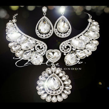 CHARLIE CO.  Handmade Swarovski Swan Clear Silver Crystal Necklace & Earring feature Wedding Bridal Prom Evening Statement Piece