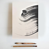 Original Fine Art Abstract Ink Drawing - Strong wind / movement / way / fall / wind -Large size -  acid free paper Windsor & Newton 200 gr