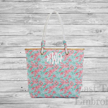 Monogram beach bag-embroidered beach tote-monogram tote bag-monogram gifts for her-personalized gifts-preppy tote-preppy beach bag-