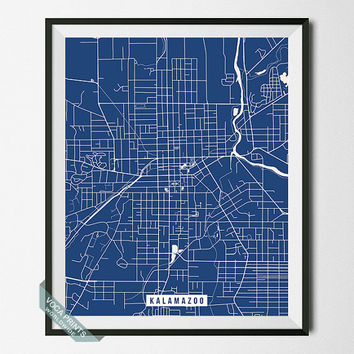 Kalamazoo Print, Michigan Poster, Kalamazoo Street Map, Michigan Map Print, Dorm Decor, Home Wall Art, Office Decor, Back To School