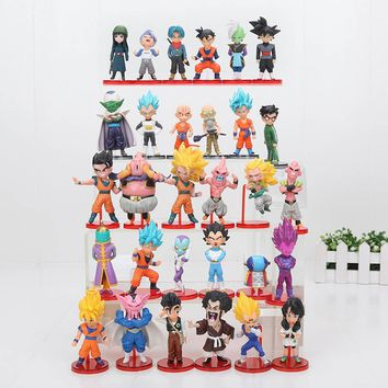 6pcs/set Dragon Ball Z 8cm DBZ Budokai Son Gohan Son Goku Majin Buu Super Saiyan Dragonball Model Toy Brinquedos doll