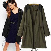 Women's Fashion Casual Patchwork Coat Jacket [5012998916]